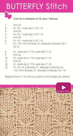 How to Knit the Butterfly Stitch Easy Free Knitting Pattern Instruction with Studio Knit via @StudioKnit