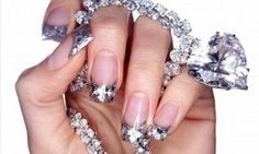 Image uploaded by ametist rose. Find images and videos about nails, diamond and bling - bling nail art on We Heart It - the app to get lost in what you love. French Nails Glitter, Fancy Nails, Love Nails, How To Do Nails, Pretty Nails, Glitter Nails, Silver Nails, Silver Glitter, Glitter Girl