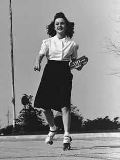 Teenage girl roller skating to college carrying books 1950's. Description from pinterest.com. I searched for this on bing.com/images