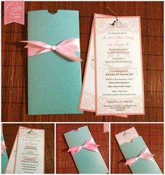 Pastel Themed Pocket Style Wedding Card with Ribbon Knot