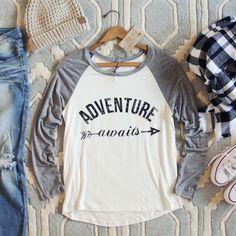 Adventure Awaits Tee // Spool No. 72 - Wanelo App for Shopify Sleeve Designs, Shirt Designs, Diy Clothes, Clothes For Women, Sporty Clothes, Flannels, Adventure Awaits, Cute Shirts, My Wardrobe