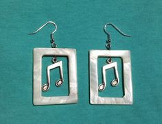 Music Note Natural Shell Earrings by ILoveRockAndRoll on Etsy, $12.00