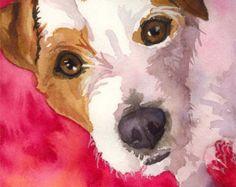 Jack Russell Terrier stampa artistica di Acquarello originale