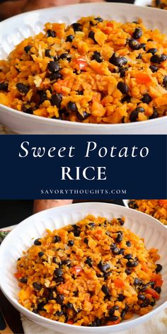 For a comforting and satisfying side dish that's also packed with health benefits, you can't go too far wrong with Sweet Potato Rice recipe. #rice #sweetpotatoricebowl #sweetpotatorice #easyrecipes #savorythoughts @Msavorythoughts | savorythoughts.com Dishes Recipes, Side Dish Recipes, Fall Recipes, Healthy Recipes, Potato Recipes, Haitian Food Recipes, Indian Food Recipes, Easy Cheap Dinner Recipes, Easy Meals