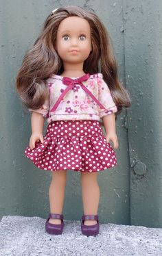 American Girl  6 inch mini Doll clothes:  polka-dot skirt with flowered top