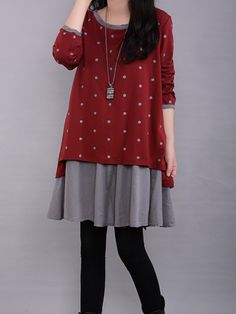 Girls Fashionable Round Neck Casual-dress - stylishplus.com