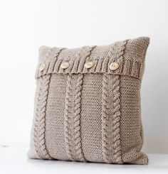Cable knit beige pillow cover - handmade decorative pillows case - natural earth color living and home decor 16x16