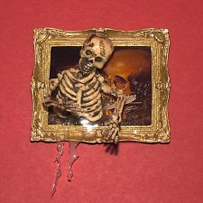 Doll House Miniature, Halloween, Skeleton coming out of a Framed Picture , OOAK