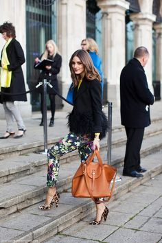 Olivia Palermo leopard heels and floral pants #oliviapalermo #celebritystyle