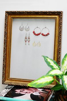 Conquer Clutter with 44 DIY Jewelry Organizers and Displays You Can Make Yourself - DIY jewelry organizer roundup: Display your jewelry with these DIY jewelry holders and storage idea - Frame Jewelry Organizer, Jewelry Display Box, Bracelet Display, Earring Display, Jewellery Storage, Jewelry Organization, Organizing Earrings, Earring Storage, Jewelry Stand