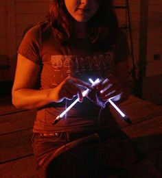 Knit in a dimly-lit room or in a car at night with light-up needles. | 26 Clever And Inexpensive CraftingHacks