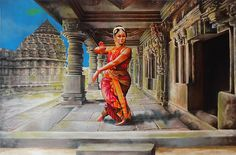 Bharata Natyam Version 3 by Asp Arts Dance Paintings, Art Painting, Indian Art Paintings, Beginner Painting, Dancer Painting, Hindu Art, Dance Art, Art, Creative Art