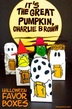 """It's the Great Pumpkin Charlie Brown"" favor boxes for Halloween 
