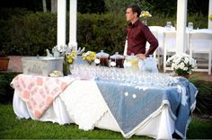 Love the quilts as table cloths. This is too cute! I think I may have a plan forming here!!  :)