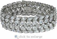 Ziamond Cubic Zirconia Bracelet Marquise & Pear CZ 14K White Gold By Ziamond.  The Cleo Bracelet features .75 carat pear & marquis shaped cubic zirconia. #ziamond #cubiczirconia #cz #diamond #jewelry #14kgold #bracelet #cuff