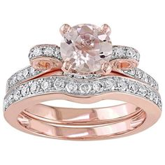 14k Rose Gold Morganite & 1/2 Carat T.W. Diamond Engagement Ring Set ($5,975) ❤ liked on Polyvore featuring jewelry, rings, pink, round cut engagement rings, pave engagement rings, pink engagement rings, engagement rings and rose gold ring