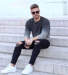 Slim Fit Ripped Jeans Men Hi-Street Mens Joggers Destroyed 1834 / 28 Accesorios - 2019 Urban Outfits, Mode Outfits, Urban Dresses, Stylish Men, Men Casual, Man Style Casual, Street Style Inspiration, Style Ideas, Slim Fit Ripped Jeans