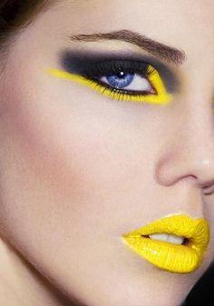 Make-Up in neon-gelb