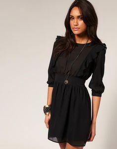 ASOS   ASOS Frill Dress with Shirred Waist at ASOS