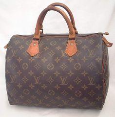 Authentic Louis Vuitton Vintage Speedy 30 Monogram Canvas Duffle Handbag