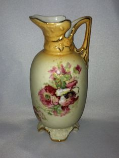 Stunning Antique Ornately Hand Painted Pitcher with Markings Regency Floral