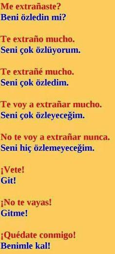 Turkish Lessons, Spanish Lessons, Learn Turkish Language, Spanish Language Learning, School Supplies, English, Writing, Education, Words