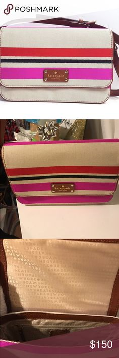 bfc7892d289 Kate Spade Fynn Oak Island Stripe Crossbody This bag is so gorgeous! Great  for casual or dressy occasions. Thick leather with gold medal details on  strap.