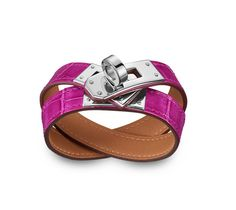 """Kelly Double Tour Hermes leather bracelet (size S) Sheherazade Pink alligator skin Silver plated hardware, 2.25"""" diameter, 14.5""""long, 0.5""""wide, <6.7"""" circumference."""