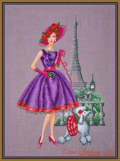 in the style of glamorous 50's Victoria - cross stitch design