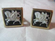 Black White Large Cufflinks Swank Horse with Wings Pegasus Mythical Porcelain | eBay