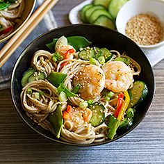 Chilled Soba Noodles with Shrimp and Lemon-Wasabi Dressing by aidamollencamp (sub greens for noodles, use olive oil)