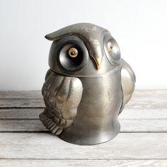 vintage owl ice bucket ( aluminum)