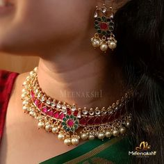 Stunning Necklace Set by Meenakshi Jewellers ~ South India Jewels – ruby jewelry Handmade Wedding Jewellery, Indian Wedding Jewelry, Bridal Jewelry, Gold Jewelry, Mughal Jewelry, Saree Jewellery, Ruby Jewelry, India Jewelry, Stone Jewelry
