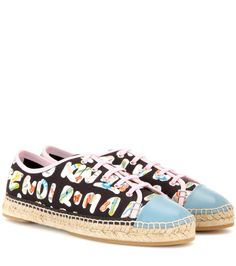 Printed black leather-trimmed sneakers