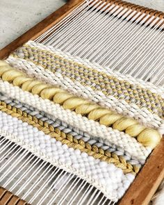 I must admit I was a bit skeptical at first but I am loving this grey and yellow colour scheme. It is for a custom order and I am… Weaving Loom Diy, Weaving Art, Weaving Patterns, Tapestry Weaving, Stitch Patterns, Knitting Patterns, Yarn Wall Art, Weaving Wall Hanging, Weaving Projects