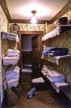 1:12th scale miniature Victorian/Edwardian dollshouse linen closet by