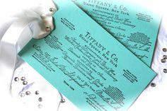 Breakfast At Tiffanys Themed Tags, Invitations, Wedding Favors