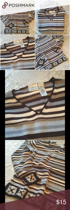 """🆕  Villager Sport Beautiful Sweater ! 💙  Villager Sport ! Whites, browns & blues ! Beautiful detail on end of sleeves and bottom ! Length is about 24"""" ! Machine wash cold gentle tumble low ! It's a beauty ! 💙 Villager Sport Sweaters"""