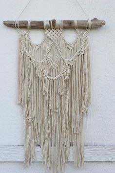 Macrame Wall Hanging Driftwood cotton rope in off by fallandFOUND