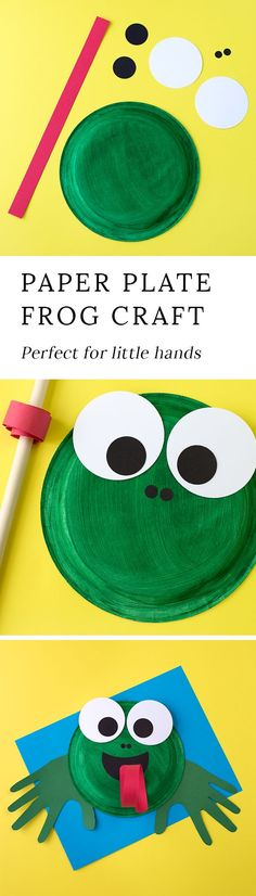 How to Make a Paper Plate Frog is part of Easy crafts For Children - This easy paper plate frog craft is perfect for helping kids learn all about the life cycle of frogs and toads It's perfect for summer! Daycare Crafts, Toddler Crafts, Preschool Crafts, Toddler Preschool, Kids Crafts, Summer Crafts For Kids, Projects For Kids, Art For Kids, Kid Art
