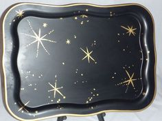 Vintage Mid Century Black w/ Gold Starburst Metal Serving Tray