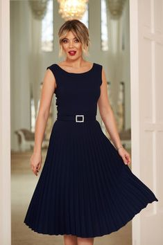 StarShinerS darkblue elegant sleeveless folded up dress accessorized with tied waistband with embellished accessories Baptism Dress, Dress Cuts, Folded Up, Suits You, Body Measurements, Dress Outfits, Dresses, Look Fashion, Soft Fabrics