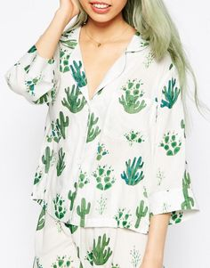 ASOS | ASOS Cactus Traditional Shirt & Long Leg Pyjama Set at ASOS