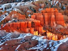 Shown here in the sunny season, Bryce Canyon's colorful hoodoos are sculpted by snow over thousands of years. Freezing meltwater enlarges cracks to slowly create—and eventually destroy—the towering limestone pinnacles.
