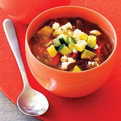 Black Bean Soup with Avocado, Orange, and Cucumber: We left the soup chunky with a clear broth, but you could easily purée it to create a smooth soup. Just don't skip the avocado mixture, as it makes a refreshing contrast to the beans and spice.