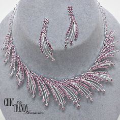 HIGH QUALITY PURPLE CRYSTAL PROM WEDDING FORMAL NECKLACE JEWELRY SET CHIC TRENDY