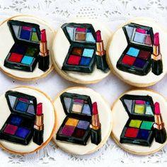Makeup Compact Lipstick Cookies     www.facebook.com/Sugarrushcustomcookies