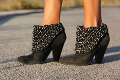 Chain ankle booties.