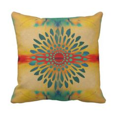 Teal and Gold Bohemian Flower Throw Pillow