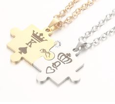 Couple Crown Stainless Pendant Necklaces is Chic and stylish necklace. Couple Necklaces, Matching Necklaces, Jewelry Necklaces, Bracelets, Jewelry Trends, Dog Tag Necklace, Antique Jewelry, Fashion Jewelry, Ootd